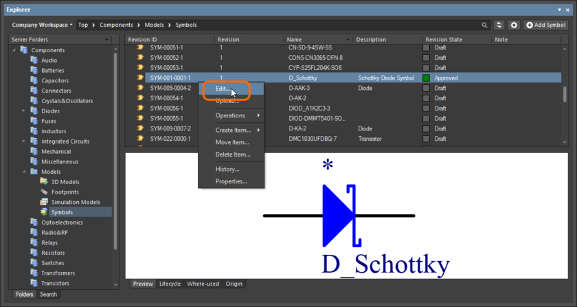 Accessing the command to launch direct editing of an existing revision of a Symbol Item from within the Explorer panel.