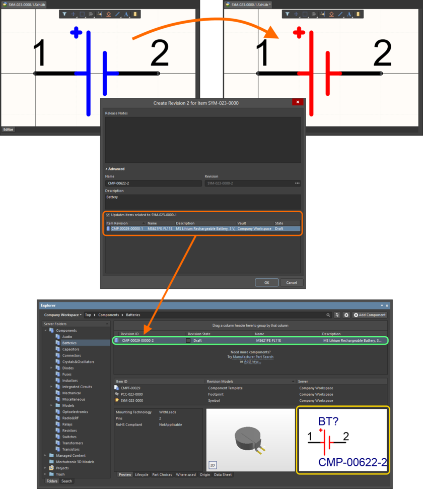 Example of automatic update in action. Here, the graphics for a symbol have been changed. The Component Item that references the symbol is automatically updated - re-released into its next revision, to use the new revision of the symbol.