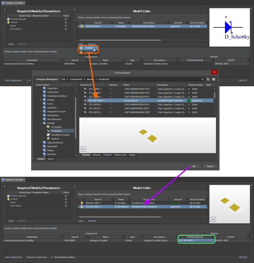 Example of referencing a revision of a Footprint Item as a model link, when direct editing a revision of a Component Item (managed component) using the Component Editor in its Batch Component Editing mode.