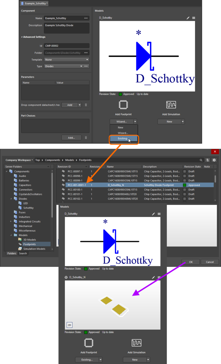 Example of referencing a revision of a Footprint Item as a model link, when direct editing a revision of a Component Item (managed component) using the Component Editor in its Single Component Editing mode.