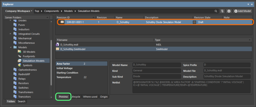 Browse the released revision of the Simulation Model Item, back in the Explorer panel. Switch to the Preview aspect view tab to see the released data.