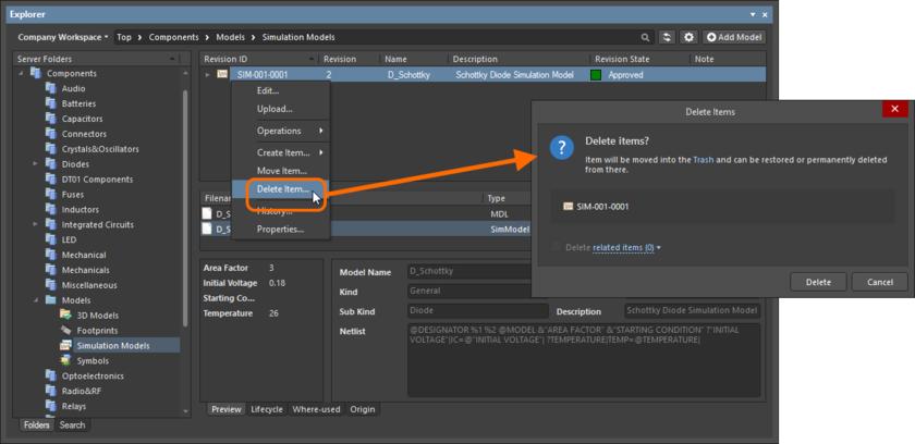 Обратимое удаление объекта имитационной модели. Объект будет перемещен в область Trash в Workspace.