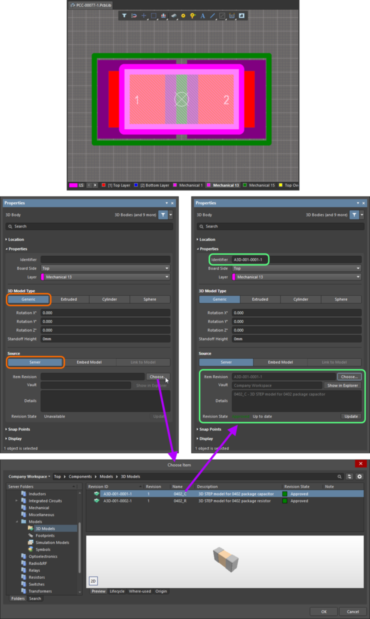 Manually linking a 3D Body object to a revision of a 3D Model Item, in the target server.