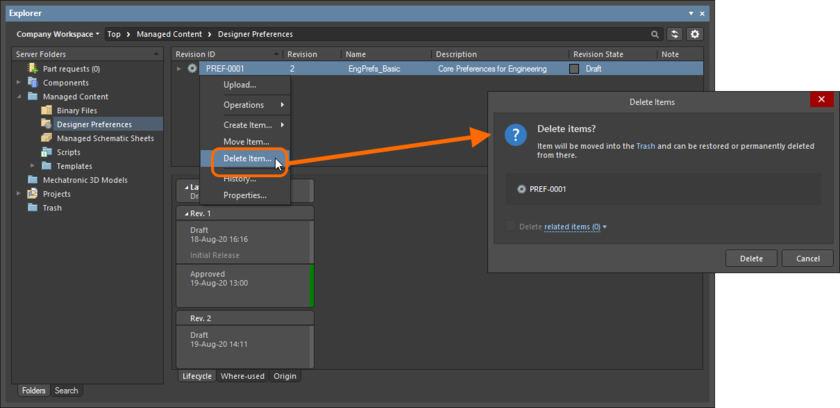 Soft deletion of a Designer Preferences Item. The Item will be moved to the Workspace's Trash area.