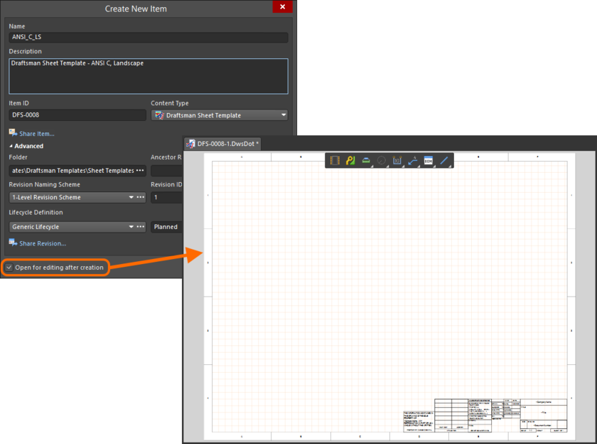 Example of editing the initial revision of a Draftsman Sheet Template Item, directly from the server - the temporary PcbDrawing Editor provides the document with which to define your sheet template.