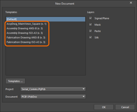 If Draftsman Document Template Items exist, then when actively connected to the server they will be presented,  instead of the local (file-based) templates.