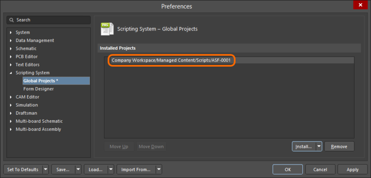 A managed script installed from a managed content server is listed by its server path and Item ID.