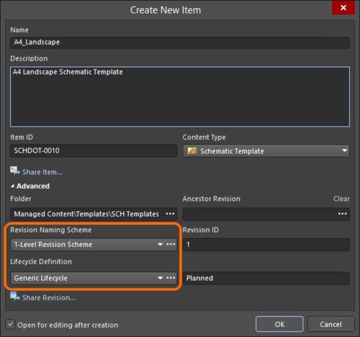 Selecting the Lifecycle Definition and Revision Naming schemes for a manually created Item.