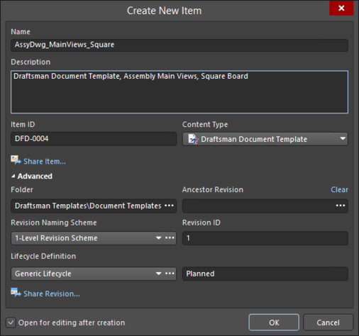 Specify the details of the new Item in the Create New Item dialog.