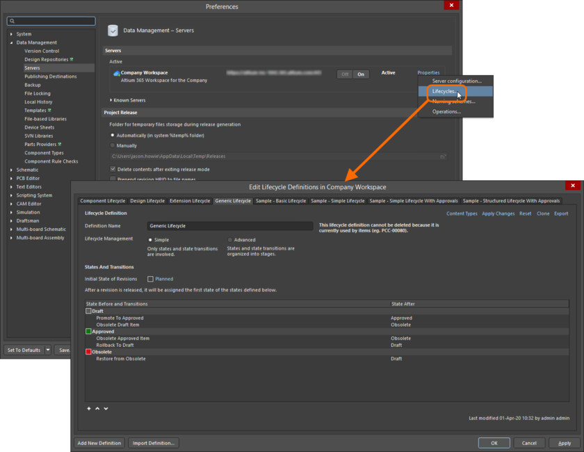 Lifecycle Definitions are defined and managed in the Edit Lifecycle Definitions dialog.