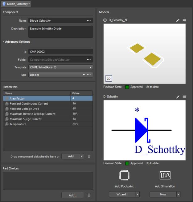 Пример компонента, созданного после запуска режима безобъектного создания компонента из папки (Schottky), которой назначен шаблон компонента. В определении компонента доступна информация из шаблона. Наведите курсор мыши на изображение, чтобы увидеть шаблон компонентов, на который указана ссылка.