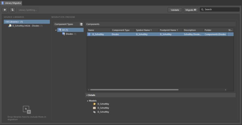 Library Migrator в режиме Advanced  – полный пользовательский интерфейс процесса миграции компонентов.