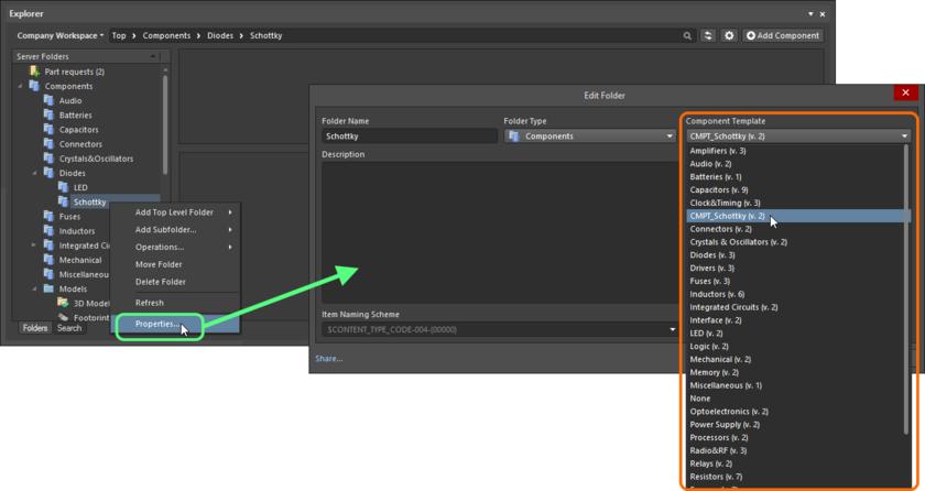 Укажите объект шаблона компонентов для его применения ко всем объектам компонентов, созданных в родительской папке компонентов.