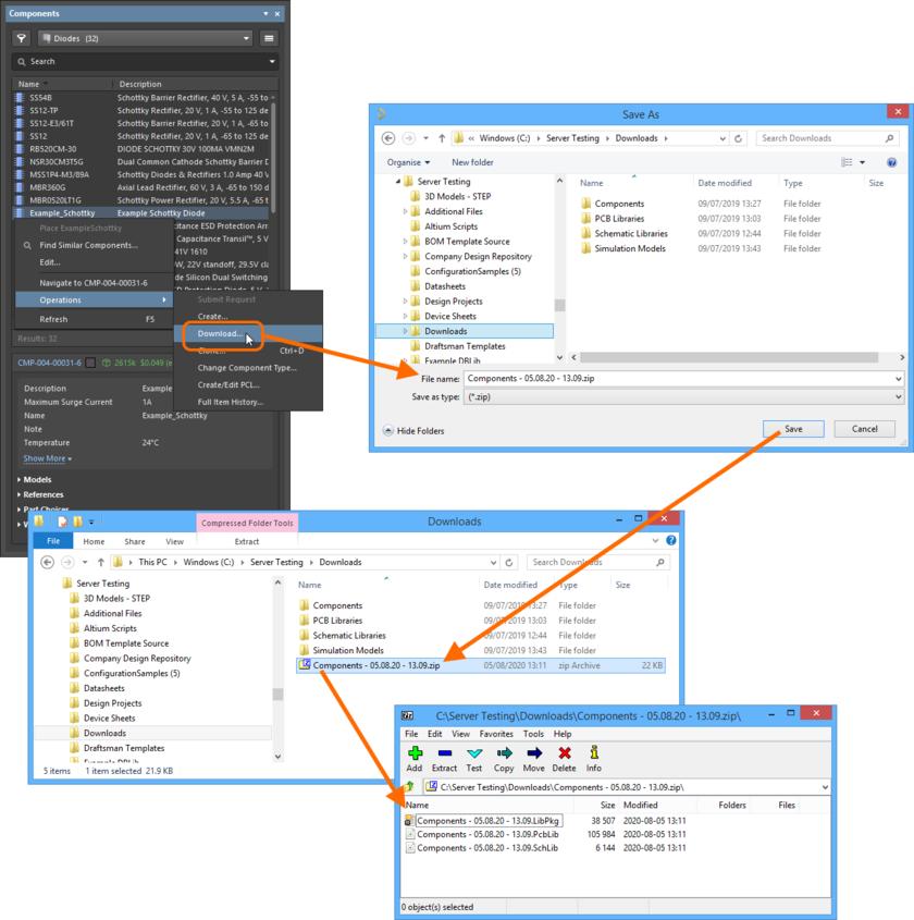 Пример загрузки (хоть и для одного компонента!) zip-архива из панели Components.