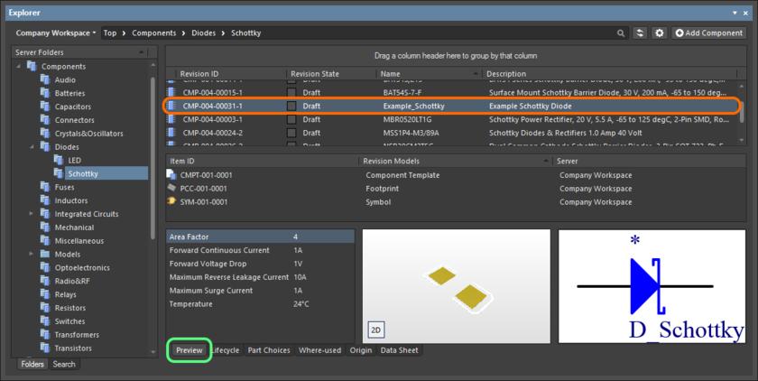 Просмотр выпущенной ревизии объекта компонента в панели Explorer. Переключитесь на вкладку аспектного вида Preview, чтобы увидеть полные данные определения, в том числе модели, на которые указаны ссылки, шаблон компонента (если используется) и параметрическую информацию.