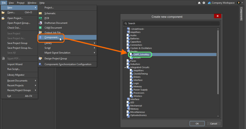 Quickly linking a Component Template Item from a listing of all available templates, when creating a new component.