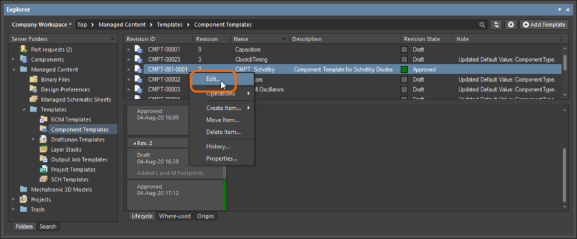 Accessing the command to launch direct editing of an existing revision of a Component Template Item.