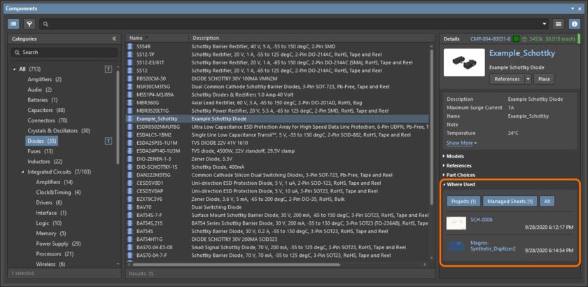 Проверка того, где используется управляемый компонент (его самая новая ревизия), через панель Components.