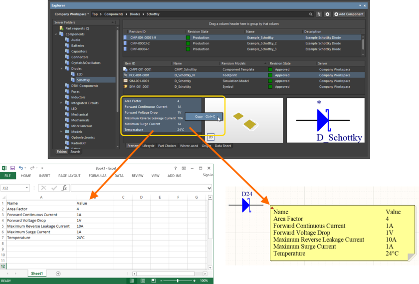 Copy a Component Item revision's parameteric information to the clipboard, for use elsewhere as required.