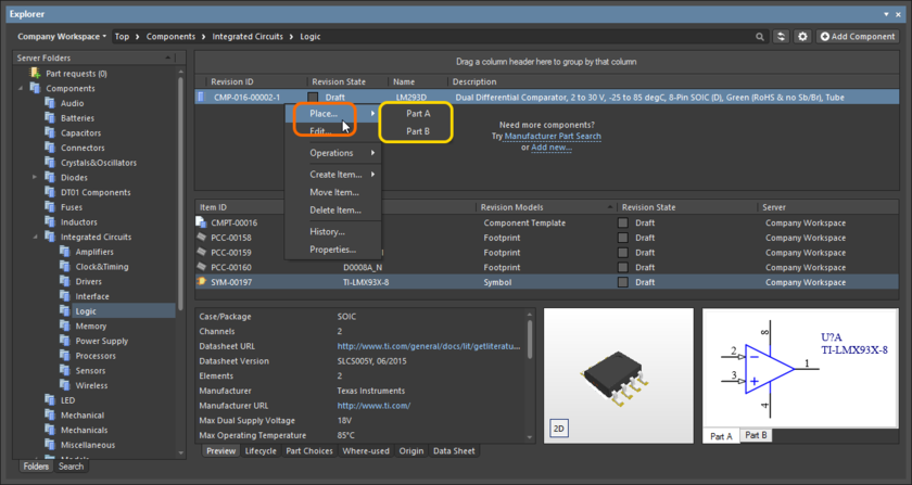 A placement sub-menu offers all parts in a multi-part Component Item.
