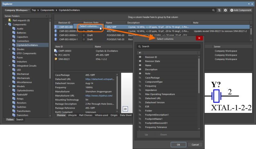 The Select Columns dialog is control central for defining which parametric data is presented in the Components View.