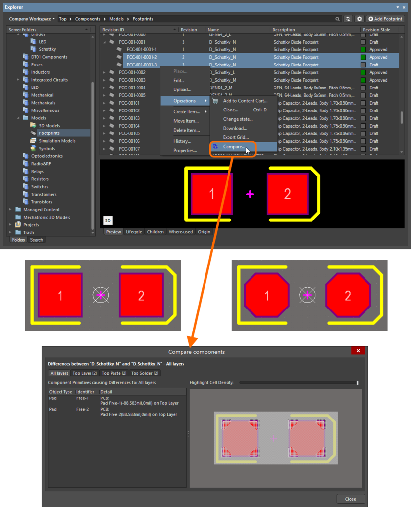 Example comparison of two revisions of a Footprint Item. The source libraries are not opened in the workspace - previews of the footprints are included here to show the differences that actually exist.