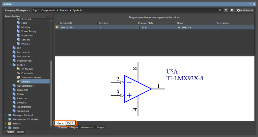 Browsing the parts of a multi-part Component Item, at the child symbol-level.