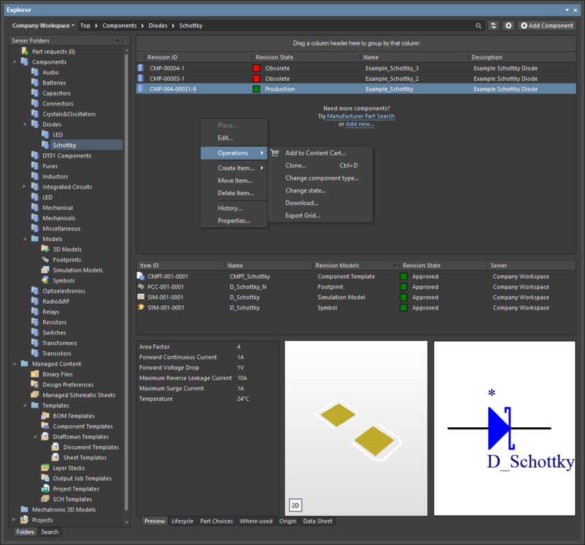 The Explorer panel provides a direct interface to your managed content server from within Altium NEXUS.