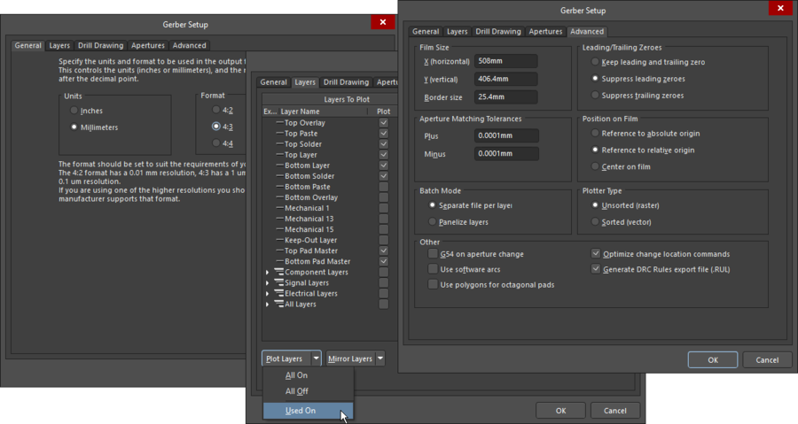 Composite image showing 3 of the 5 tabs in the Gerber Setup dialog