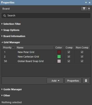 Properties panel, PCB editor Grid Manager section