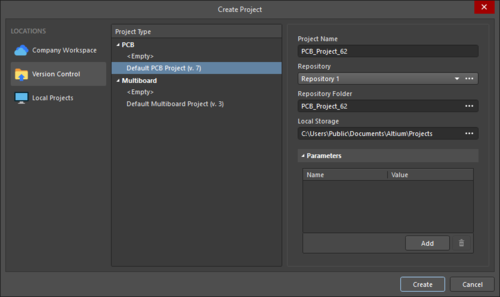The Create Project dialog when creating a project under Version Control