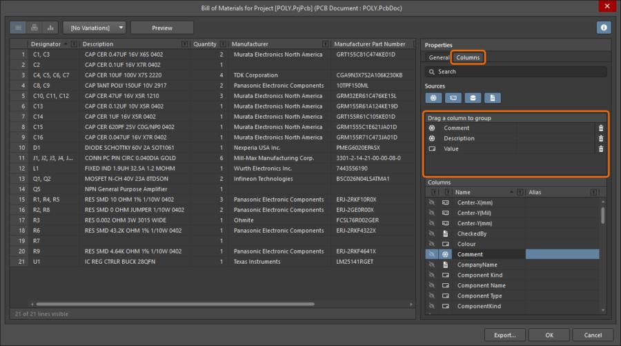 Включите опцию Show столбца, чтобы включить его данные в BOM.