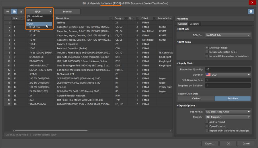 Настройте отчет BOM на определенный вариант. Баннер диалогового окна отображает, какой вариант используется в данный момент.