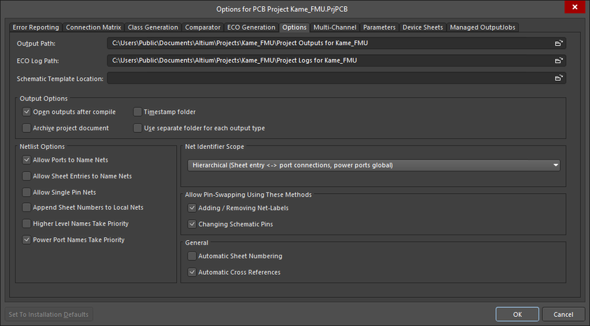 The Options tab of the Project Options dialog