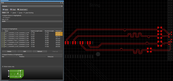 Use the PCB panel to monitor the progress of length matching