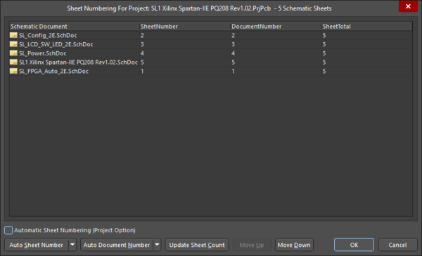 The Sheet Numbering For Project dialog