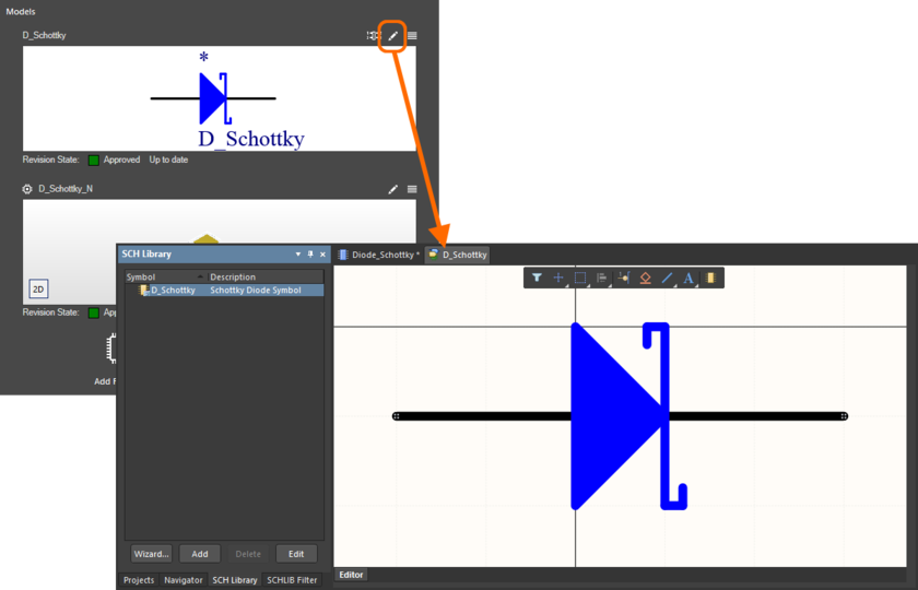 An example of editing an existing model that is being referenced by the component.