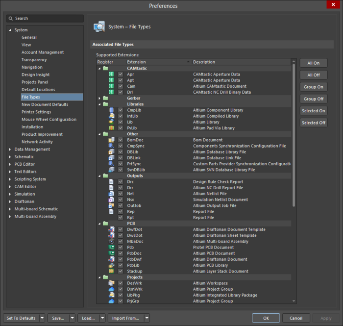 The System - File Types page of the Preferences dialog