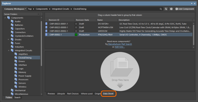 Through the Explorer panel, datasheet management for an existing Component Item is performed from within that item's Data Sheet aspect view tab.