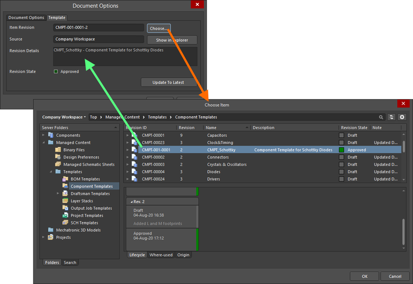 Manually linking a component to a revision of a component template, in the target Workspace.