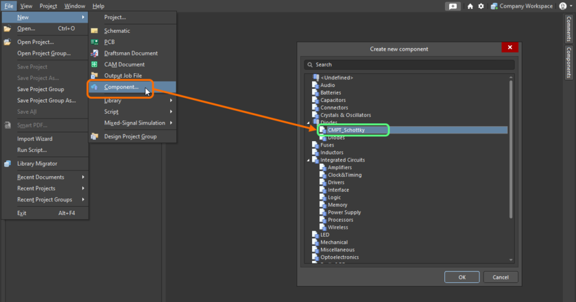 Quickly linking a component template from a listing of all available templates, when creating a new component.