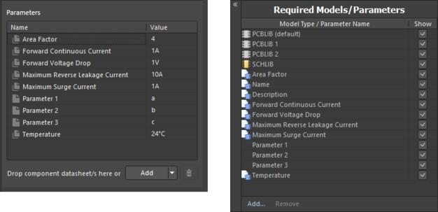 Пример параметров после привязки ревизии объекта шаблона компонента при использовании редактора Component Editor в режиме Single Component Editing (слева) и в режиме Batch Component Editing (справа).