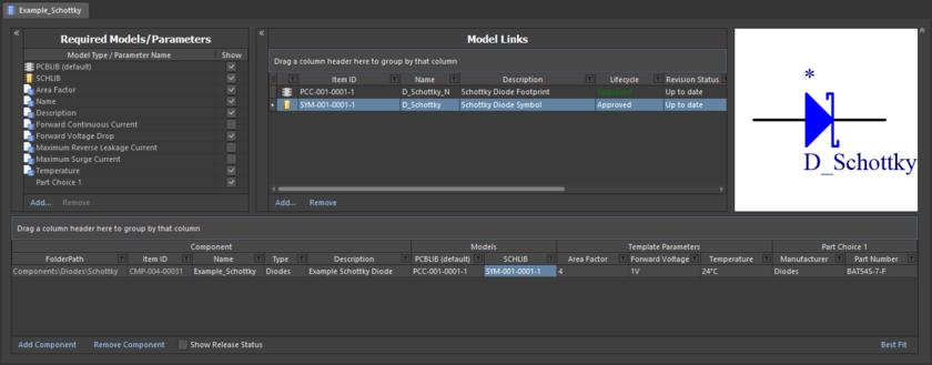 Пример, где показано определение компонента с помощью редактора Component Editor в режиме Batch Component Editing. Хотя вы можете использовать этот режим для редактирования отдельного компонента (как показано здесь), он наиболее эффективен при редактировании множества компонентов с общими параметрами и моделями.