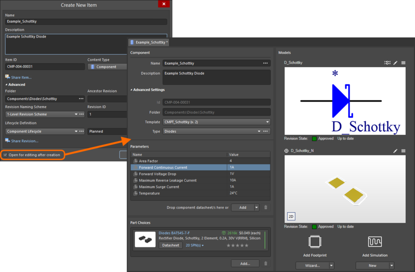 Пример редактирования начальной ревизии объекта компонента непосредственно с сервера управляемых данных. Временный редактор Component Editor предоставляет элементы управления, с помощью которых вы определяете компонент (по умолчанию отображается в режиме Single Component Editing).