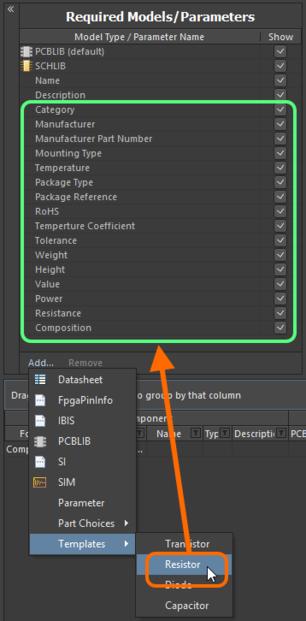 Добавление набора параметров для использования компонентом(-ами) можно ускорить с помощью шаблонов параметров.