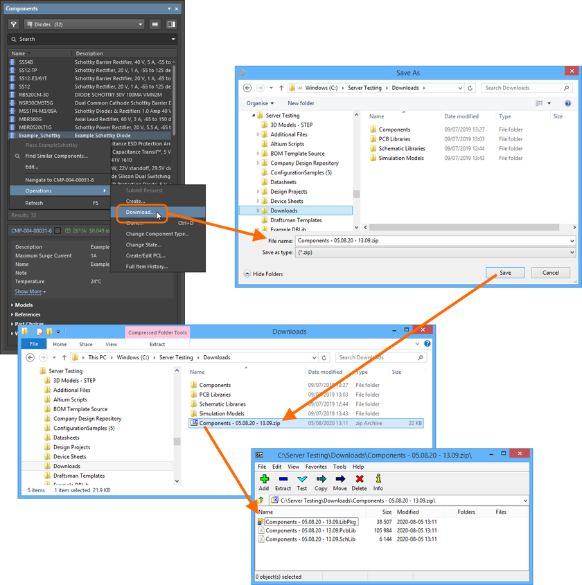 Example download (albeit a single component!) into a Zip file, in this case from the Components panel.