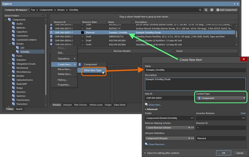Creating a component within a Components folder – while the correct Content Type is available on the context menu (Component command), using this will take you into item-less component creation mode. To create a traditional Item using the Create New Item dialog, choose the Other Item Type command from the menu instead.