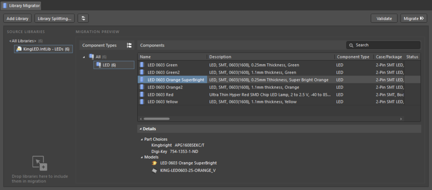 The Library Migrator in its Advanced mode – the full user interface to the component migration process.