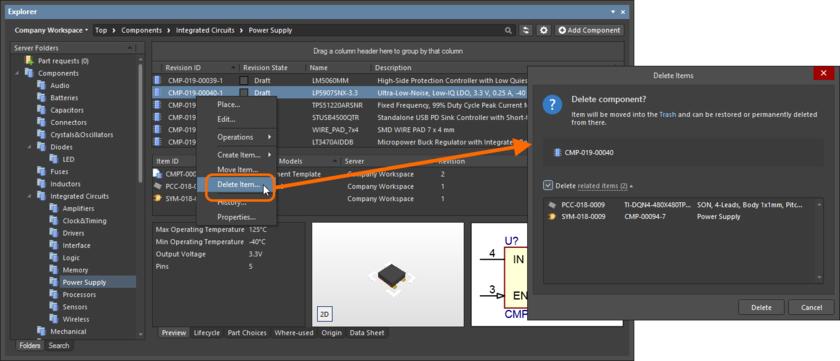 Обратимое удаление объекта компонента со связанными с ним объектами символа и посадочного места. Все объекты будут перемещены в область Trash в Workspace.