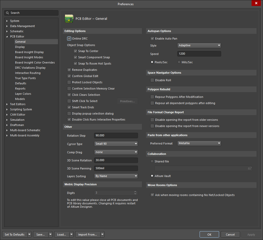 The PCB Editor – General page of the Preferences dialog